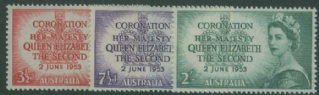 AUS SG264-6 Queen Elizabeth II's Coronation set of 3